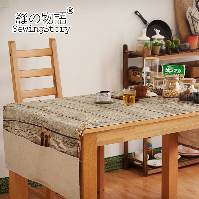 缝物语自然风格仿原木防油棉麻桌布C23WTC31