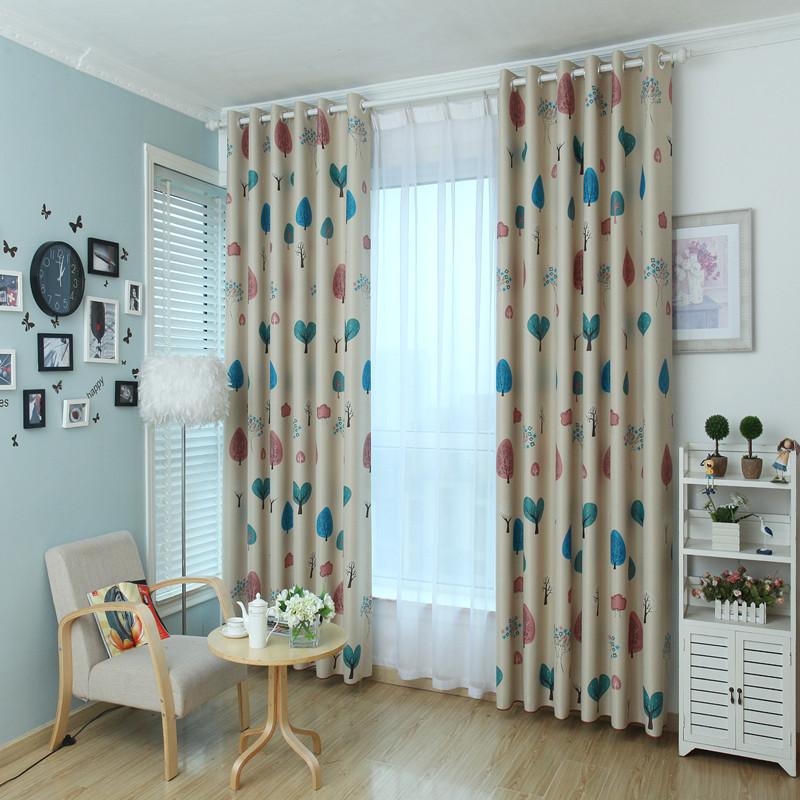 阳光自然风儿童房飘窗挂钩窗帘卡通树