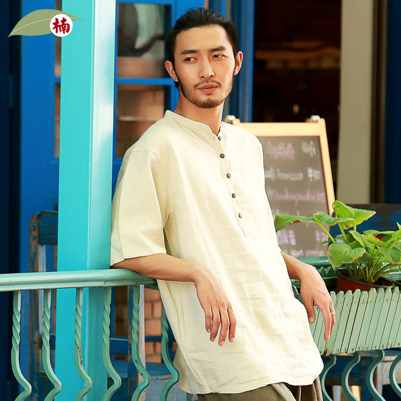 楠唐装男中国风男装亚麻t恤男短袖潮纯色圆领宽松大码男体恤薄款