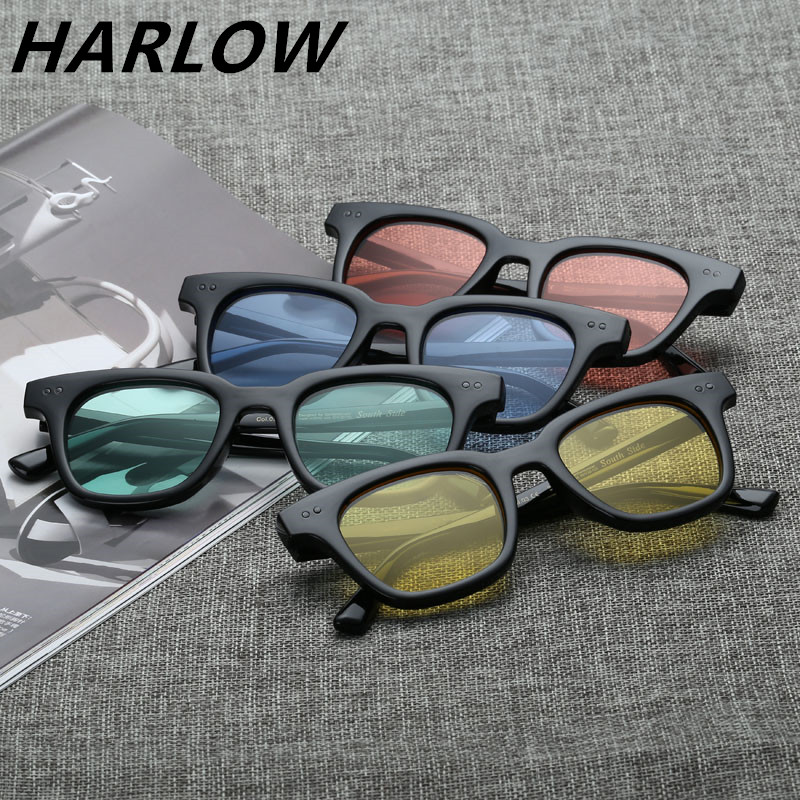 彩色海洋镜片太阳镜女可配近视带度数眼镜黄色绿色蓝色红色墨镜男