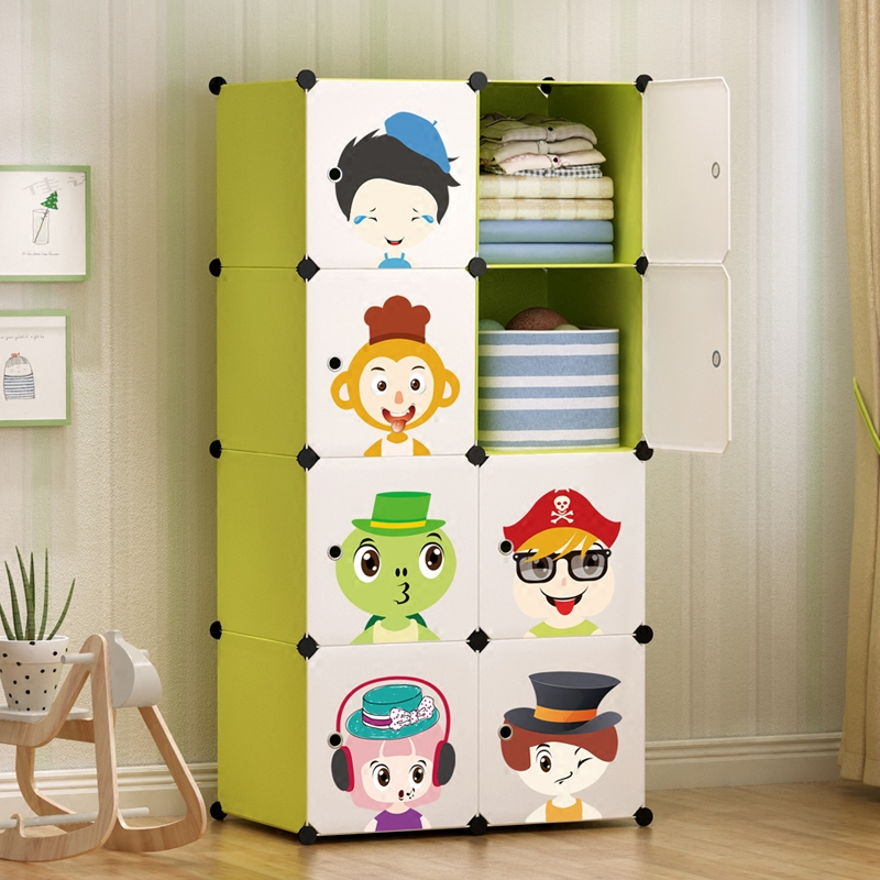 Young age children's simple wardrobe Green cartoon combination magic piece plastic modern simple economical wardrobe