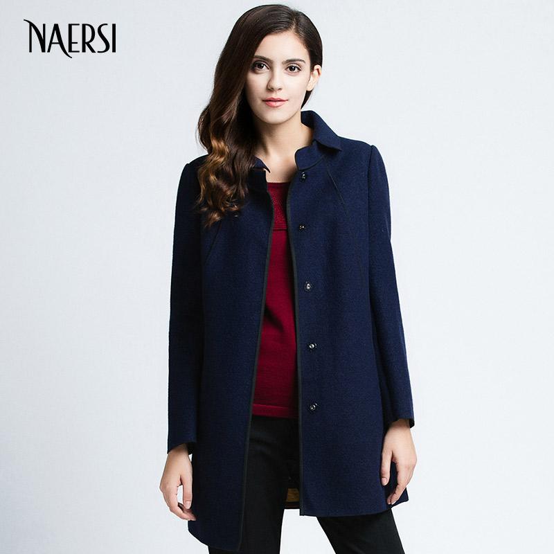 NAERSI娜尔思秋冬新款通勤修身翻领中长款羊毛呢外套大衣