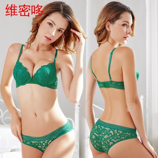 维密哆欧美性感蕾丝女士内衣裤绿色深V情趣秘密带聚拢文胸套装