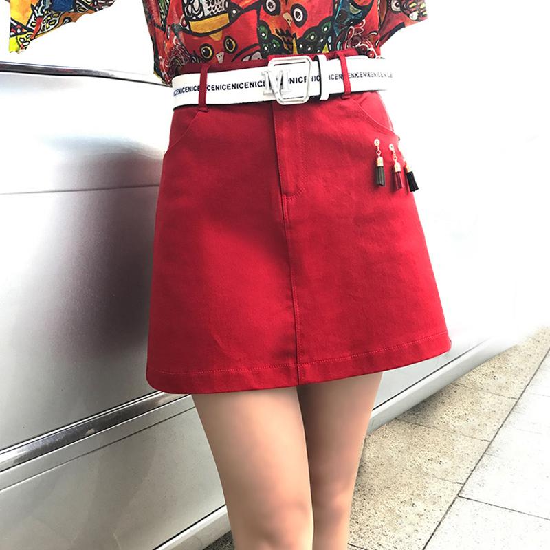 防走光牛仔短裙女包臀裙2018夏季新款韩版高腰显瘦港味半身a字裙