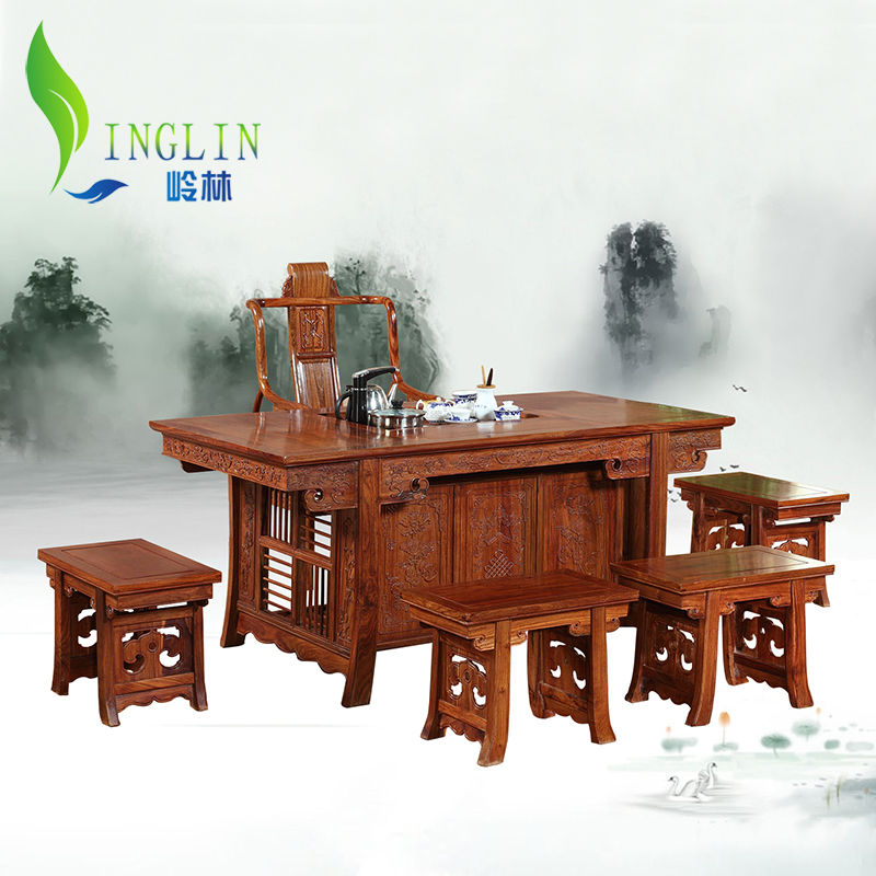 岭林红木花梨木茶桌将军茶台