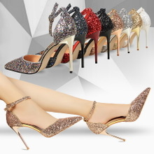 283-1 the European and American wind high heel with shallow mouth pointed hollow sequins sexy nightclub show thin word and women sandals