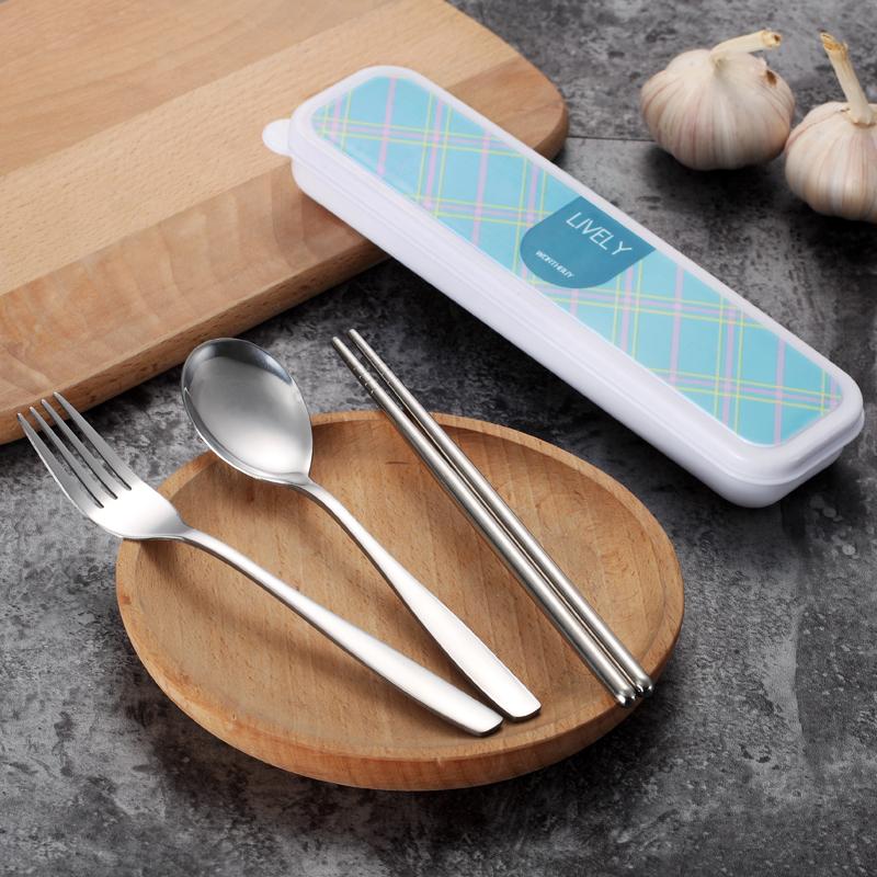 沃德百惠格纹不锈钢便携式餐具筷子盒 A23015