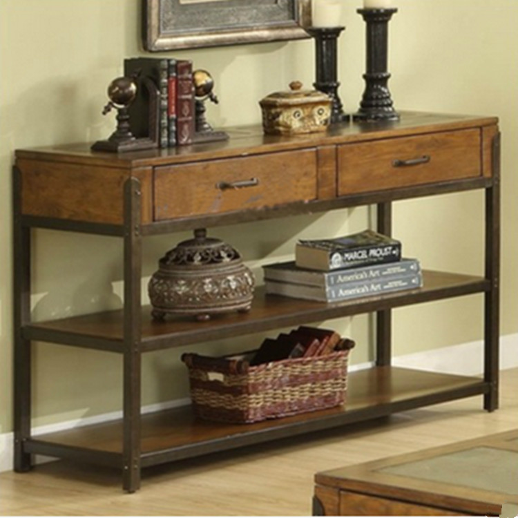 淘易家居美式做旧铁艺书柜