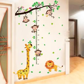 儿童房卡通动物身高贴墙贴画