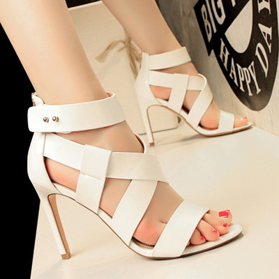 818-1 the European and American wind show thin sexy high-heeled shoes with ultra fine with peep-toe hollow out sandals R