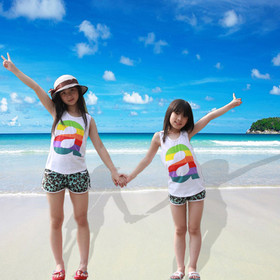 2015 summer children's vest children's vest boy girls vest fluorescent color a word parent-child wear vest cotton