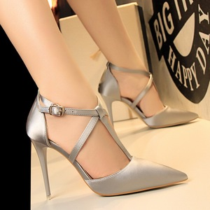 1627-2 han edition fashion contracted fine with high heels satin shallow mouth tip cross with sexy nightclub show thin s
