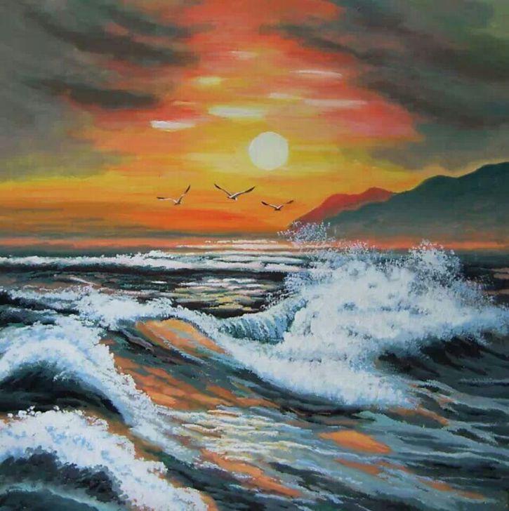王伟宏手绘丙烯画装饰画60x60厘米