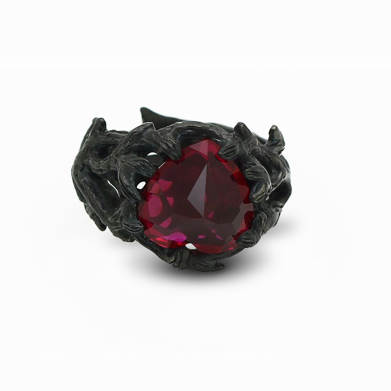 Chinese designer (hard candy), rose the dark side of 925 Silver Black oxide ring customization