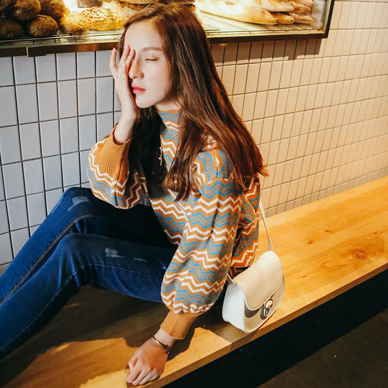 秋装新款毛衣外套女上衣短款针织韩版内搭秋冬套头条纹打底衫春秋