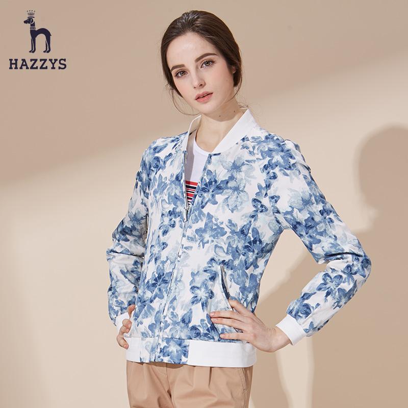 Hazzys女士夹克衫哈吉斯春夏新款休闲潮流显瘦休闲外套印花棉薄款
