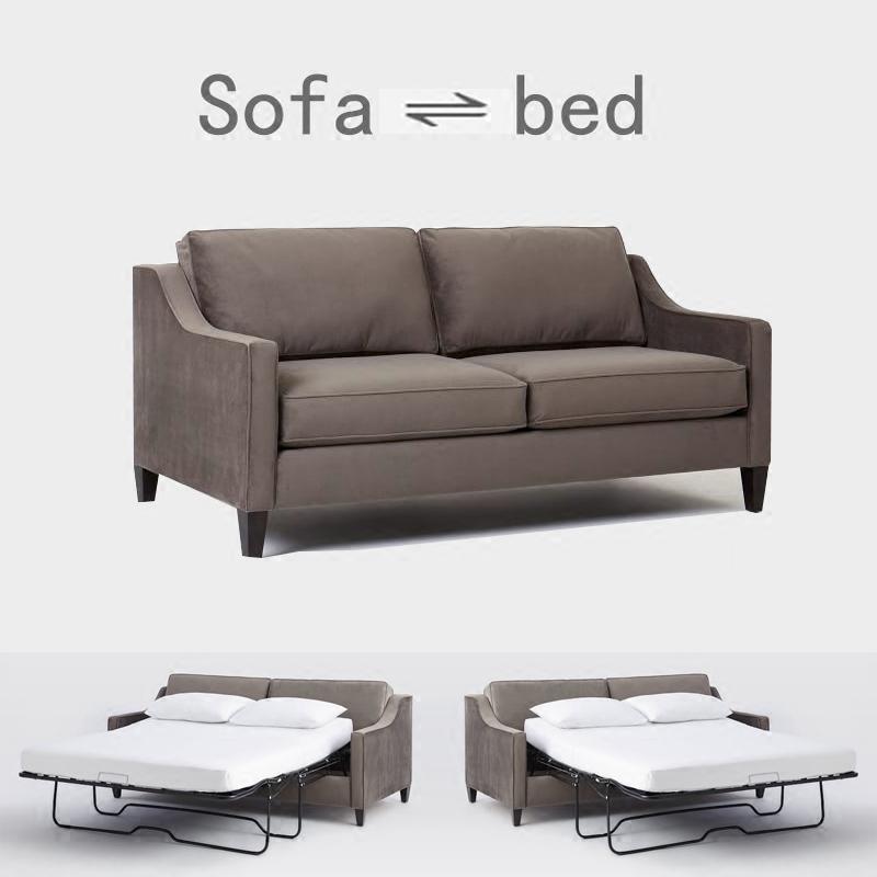 美式小户型布艺沙发床客厅书房休息床北欧双人三人沙发现代简约