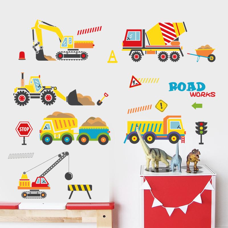 其乐可爱幼儿园卡车工程墙贴纸MM6027