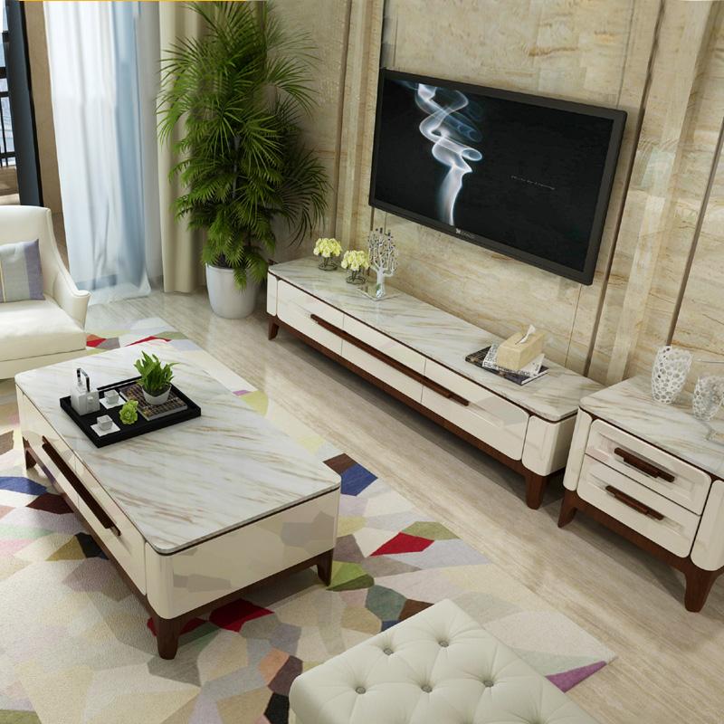 大理石电视柜茶几组合套装北欧实木客厅现代简约电视机柜2米2.2米