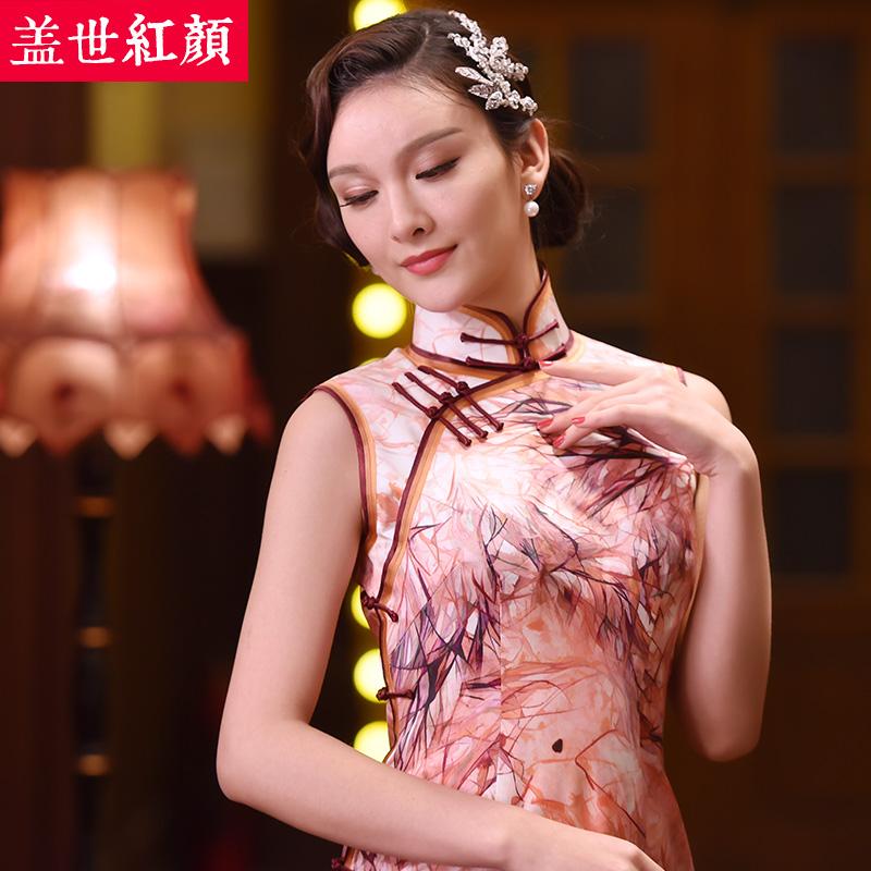 盖世红颜真丝长款无袖旗袍新款原创复古手工旗袍裙礼服故色