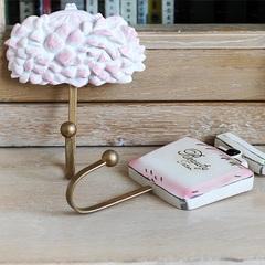 创意欧式挂钩 树脂彩绘粉色简约挂墙钩 家居装饰挂件 金属衣帽钩