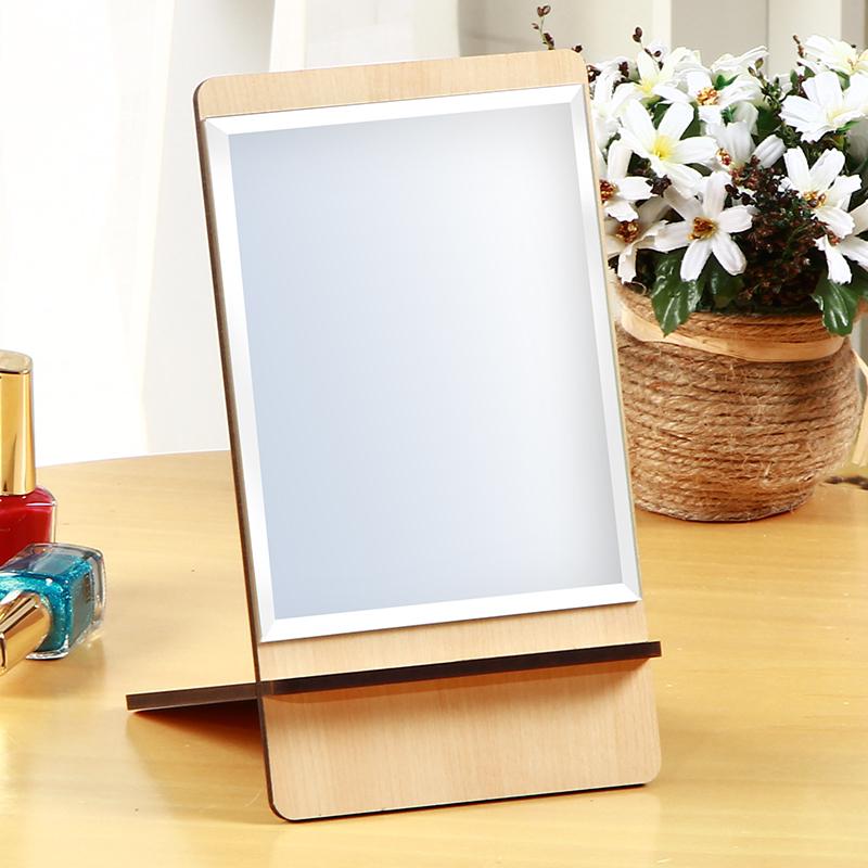 雅皮仕木质书桌面台式化妆镜子木纹