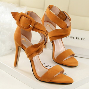 7206-3 han edition show thin summer fashion sexy high-heeled shoes high heel with suede cross belt buckle sandals