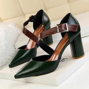 1718 the European and American wind restoring ancient ways high-heeled shoes circle with thick with high belt buckle wit
