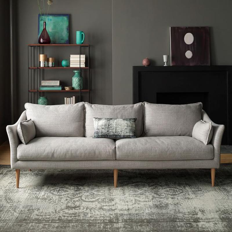 北欧羽绒乳胶沙发现代简约小户型可拆洗棉麻布艺沙发组合双三人位