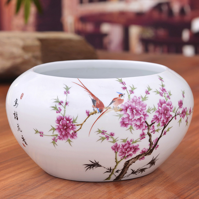 Jingdezhen ceramics powder enamel gold fish tank water shallow tortoise cylinder modern household adornment handicraft furnishing articles in the living room