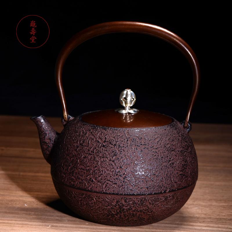 龟寿堂 铁壶日本原装进口纯手工安丸铸铁壶 代购生铁壶煮水茶壶