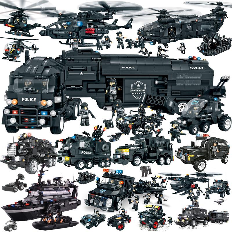 沃马特警战队军事积木模型儿童玩具DIY战车飞机组装玩具拼装积木