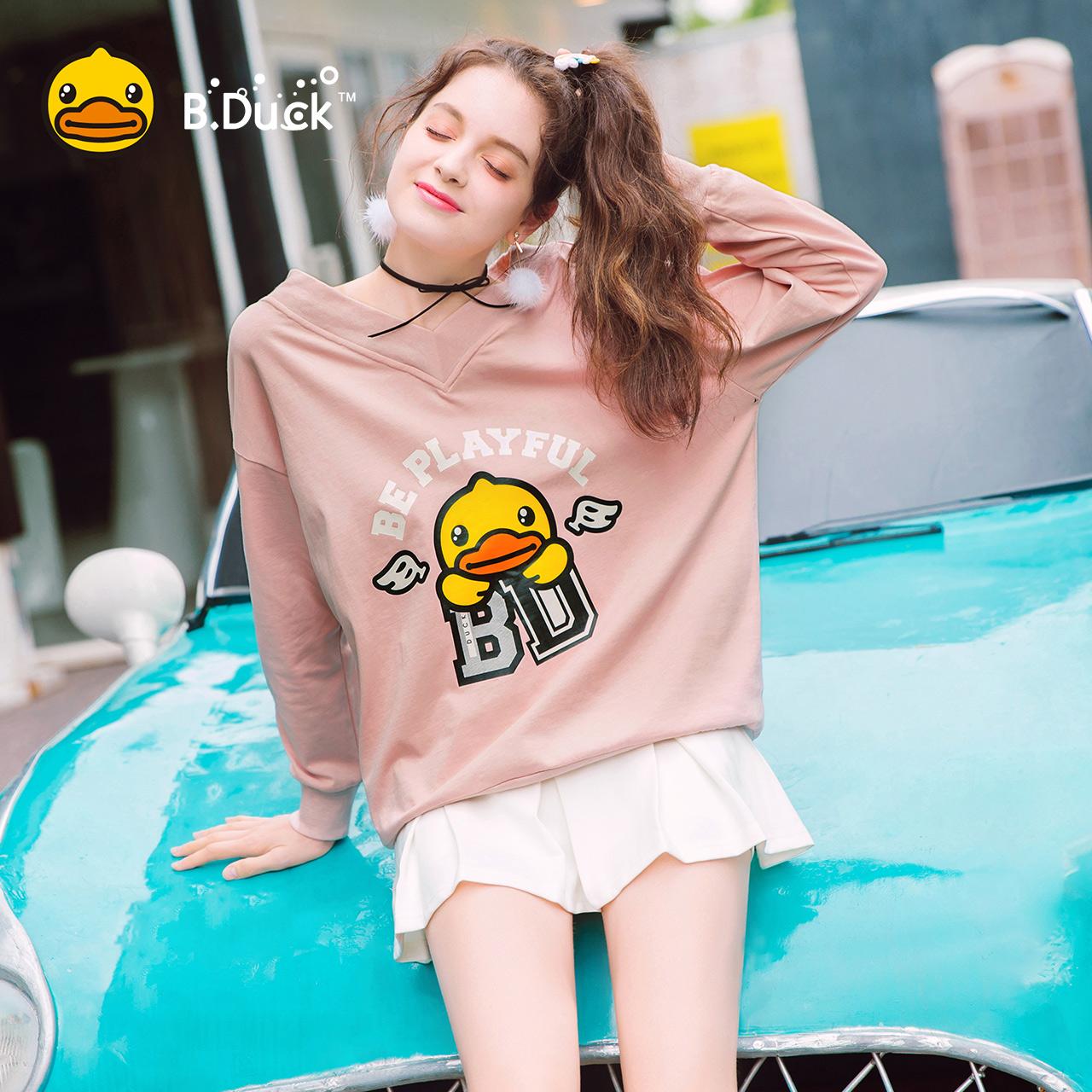 23区 B.Duck小黄鸭女装2017秋季新款时尚V领长袖T恤休闲卫衣宽松上衣