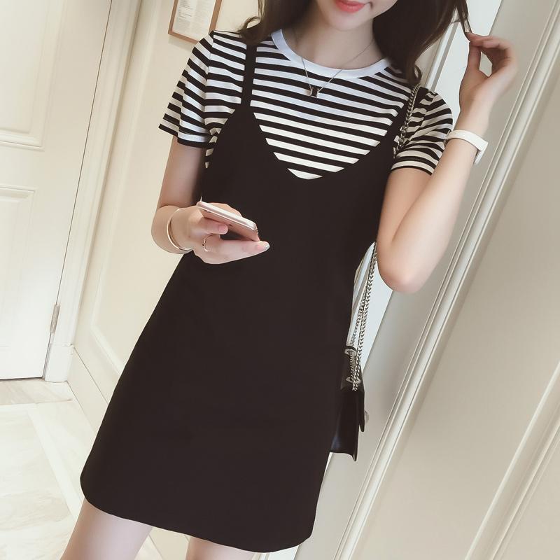 夏装新款韩版淑女背带连衣裙女条纹短袖T恤纯色背带裙两件