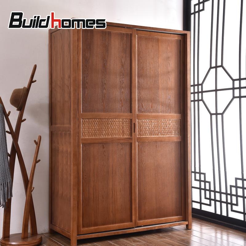 筑家东南亚家具实木衣柜推拉门BZBD7011