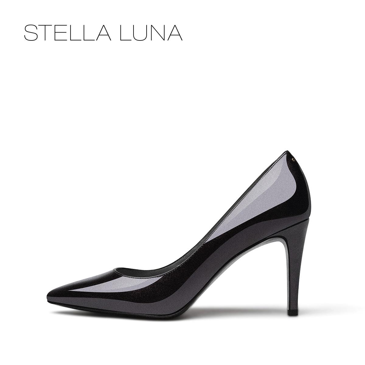 STELLA LUNA设计师款春夏尖头浅口通勤女鞋牛漆皮套脚高跟单鞋