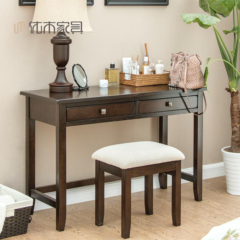 优木纯实木书桌美式梳妆桌11