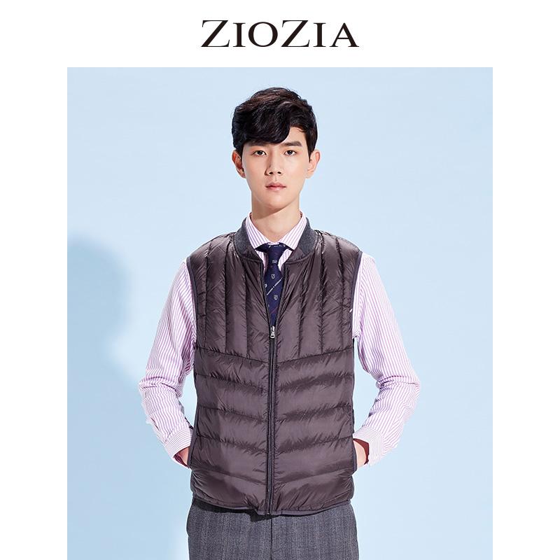 ZIOZIA韩国男装冬装时尚休闲男士纯色羽绒背心DLV4VP1001