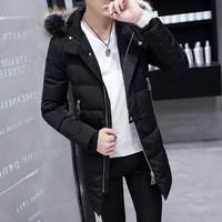 青少年中长款毛领棉衣男冬天韩版潮男装冬季棉服学生加厚棉袄外套