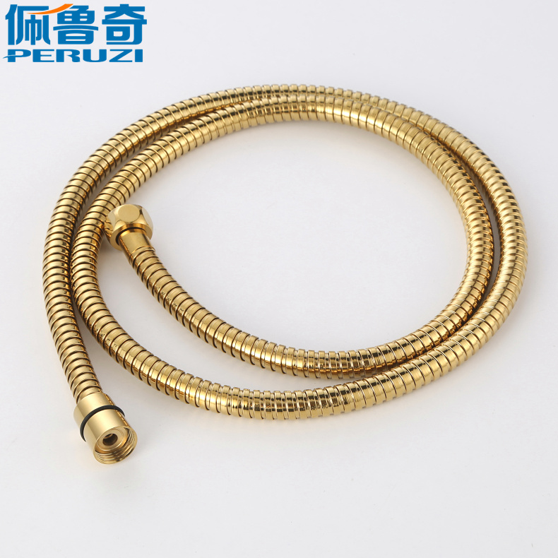 1.5米长铜头金色花洒软管 防爆热水器淋浴莲蓬头花洒喷头软管水管