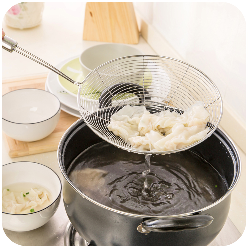 Stainless steel frying colander kitchen fishing noodle scoop ladle spicy dumpling filter drain net spoon