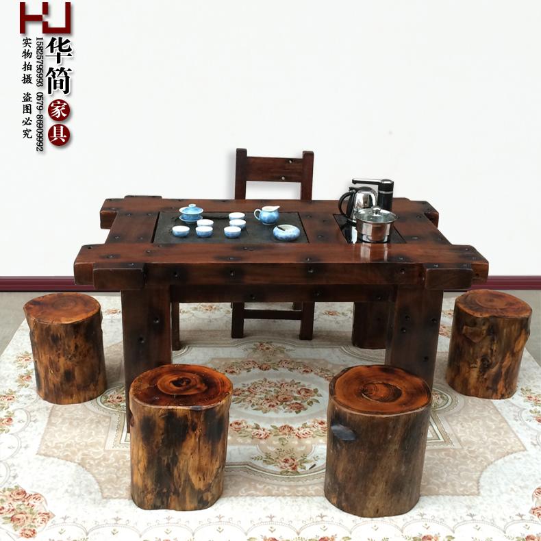 华简家具老船木茶桌椅CM-003