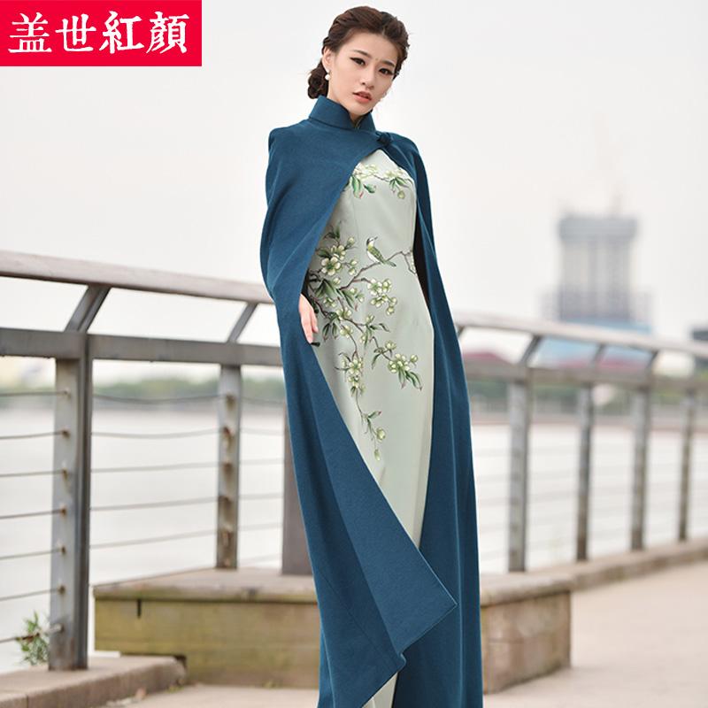 盖世红颜旗袍大衣秋冬新款女长羊毛外套中长款风衣老上海风情