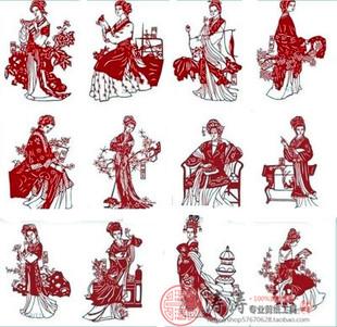 名作红楼梦人物之金陵十二钗剪纸图案刻纸素材图样高清电子版包邮