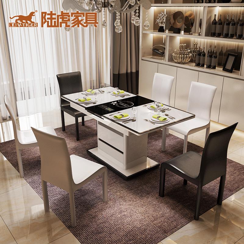 陆虎现代玻璃饭桌LH-H2