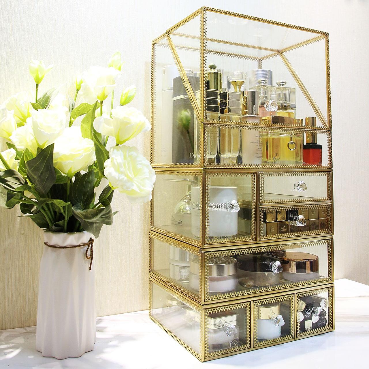 北欧超大号透明玻璃化妆品收纳盒翻盖有盖桌面化妆盒梳妆台整理盒