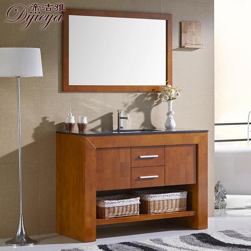 现代简约新中式卫浴柜组合实木落地浴室柜洗手台洗手洗脸盆柜定制