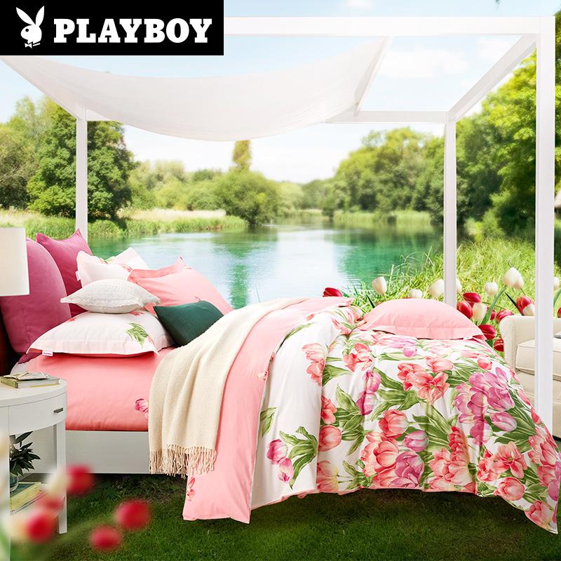 playboy/花花公子被套床单纯棉四件套