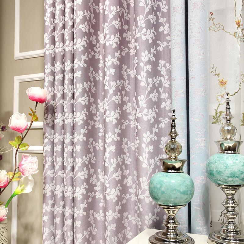 布一堂田园窗帘粉紫色小碎花提花布CL38