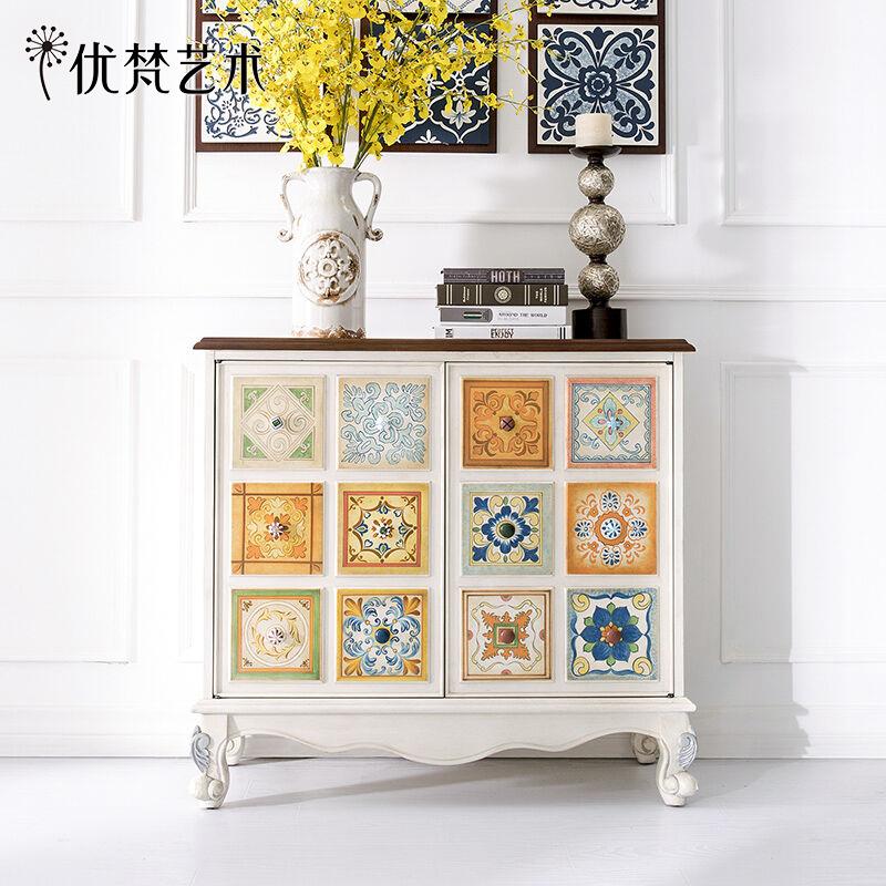 优梵艺术UvanAccent新古典彩绘玄关柜子双门柜置物装饰沙发后背柜